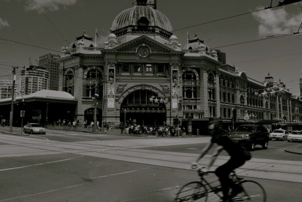 Flinders Street Station + Cyclist