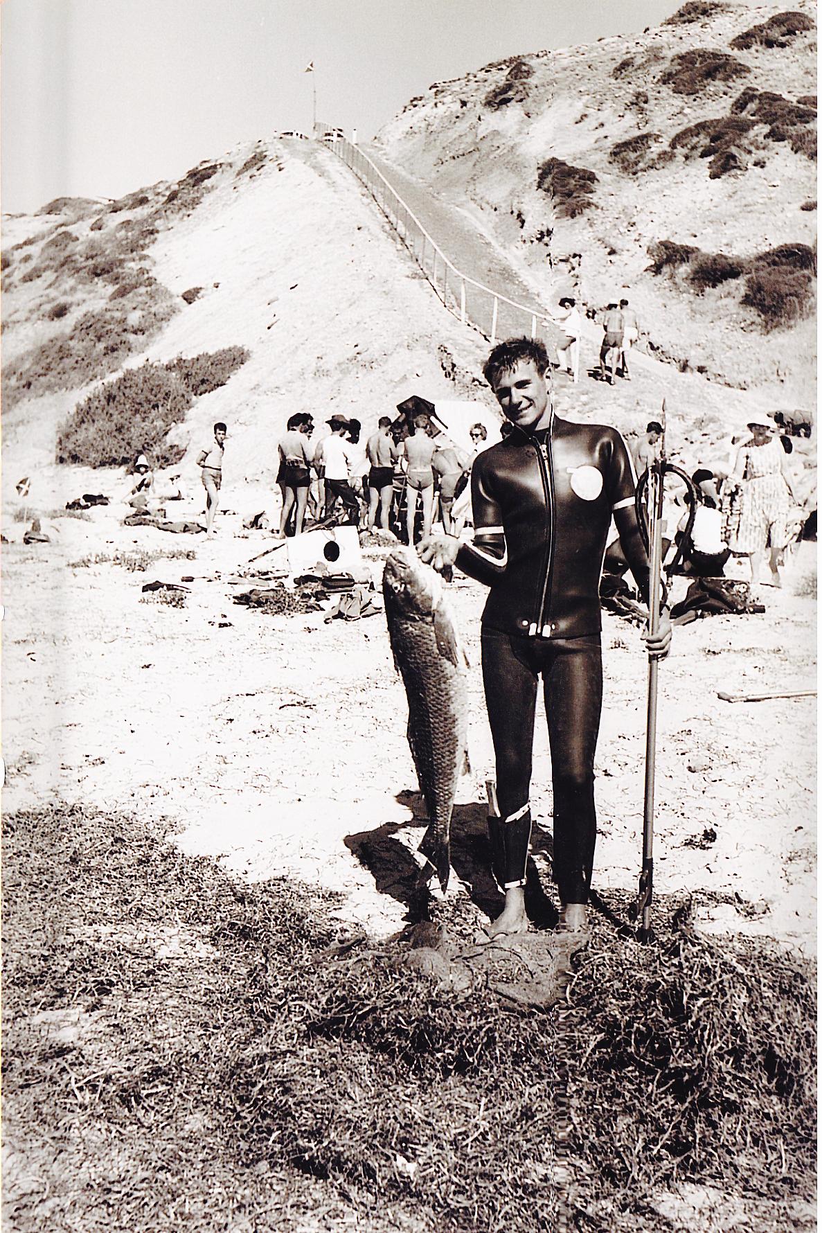Rodney Fox on Aldinga Beach, one year before his shark attack