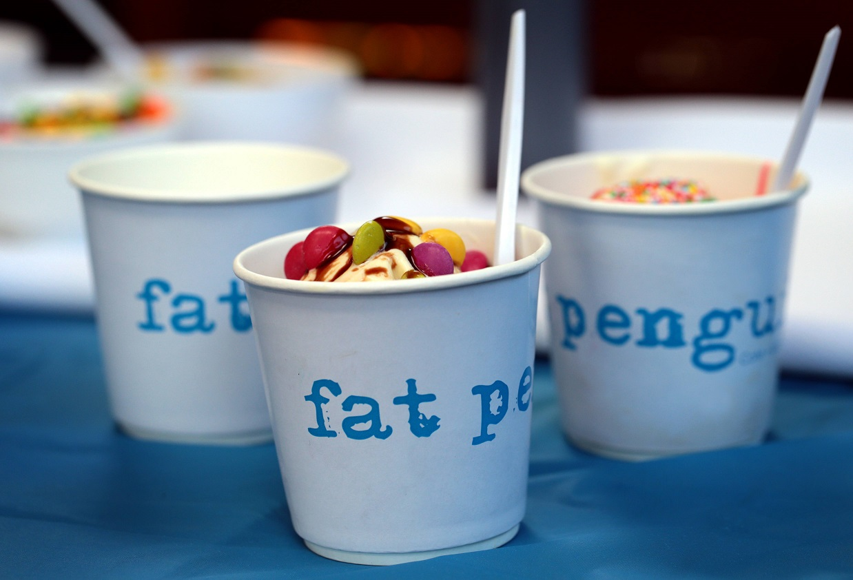 The Fat Penguin cafe. High St East Kew. The Fat Penguin will be serving a put your own toppings ice cream bar during school holidays